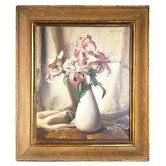 Still Life Lily Flower Vase, Bruno Croatto 20 Century Oil Italian Painting