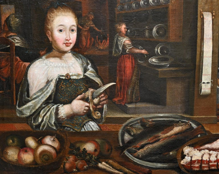 Still Life of an Kitchen Interieur , German , 18th century,  Oil on canvas.