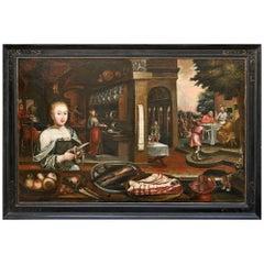 Still Life of an Kitchen Interieur  German 18..Jhdt. Oil on Canvas