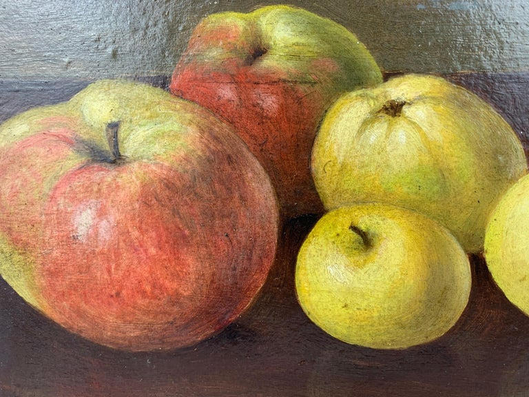 Charming and simple still life of apples on canvas by Neils P. Petersen painted in 1943. Unframed.