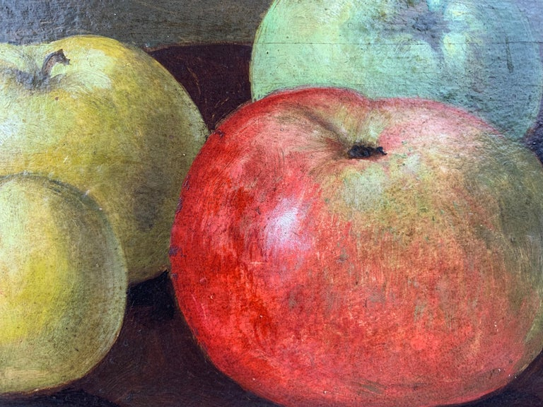 Country Oil painting Still Life of Apples by Neils P. Petersen, 1943 For Sale