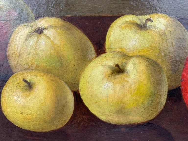 Unknown Oil painting Still Life of Apples by Neils P. Petersen, 1943 For Sale