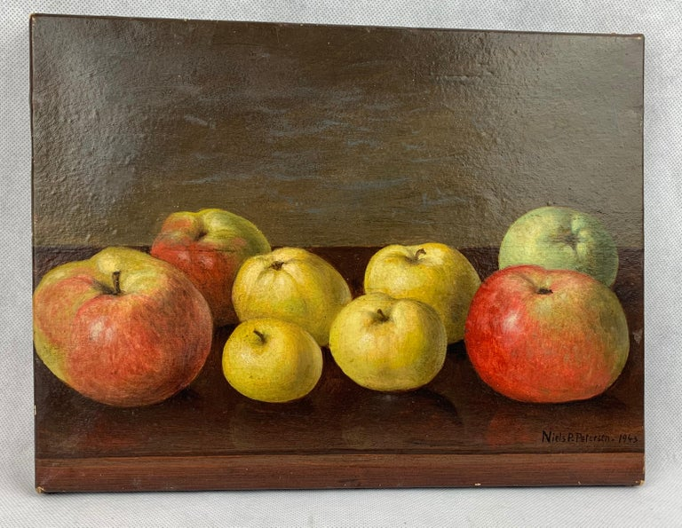 Canvas Oil painting Still Life of Apples by Neils P. Petersen, 1943 For Sale