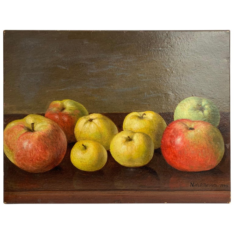 Oil painting Still Life of Apples by Neils P. Petersen, 1943 For Sale
