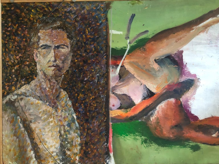Modern Still Life of Flowers Oil on Board by John Graham Two Sided Portrait and Nude For Sale