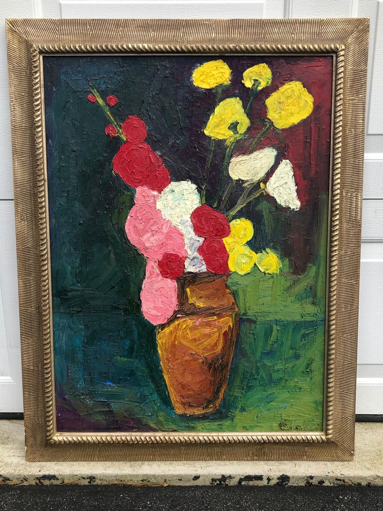 American Still Life of Flowers Oil on Board by John Graham Two Sided Portrait and Nude For Sale