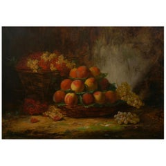 """Still-Life of Grapes & Peaches"" French Painting by Alfred Brunel de Neuville"