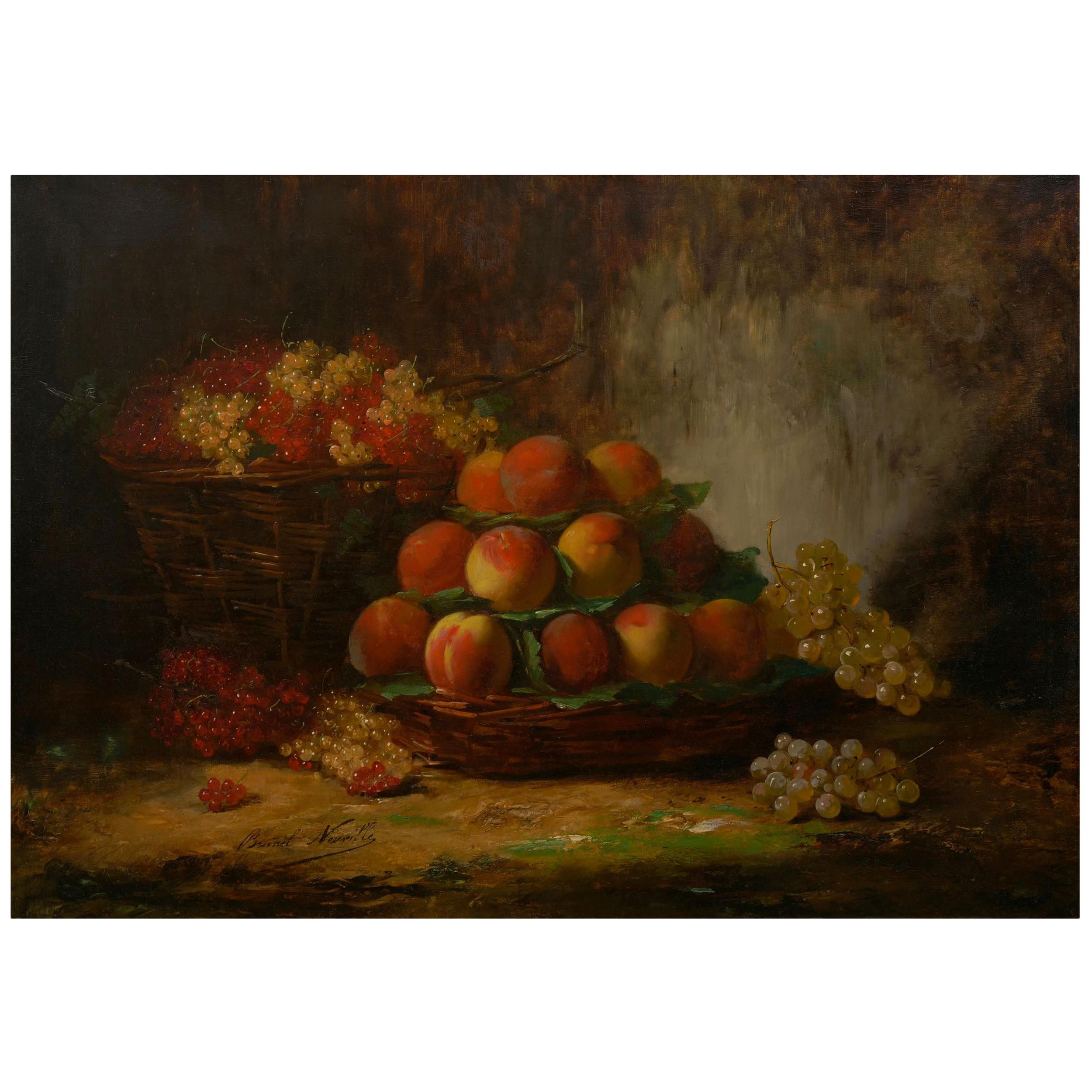 """""""Still-Life of Grapes & Peaches"""" French Painting by Alfred Brunel de Neuville"""