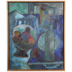 Still Life Oil on Canvas, André Pallier, 1950s