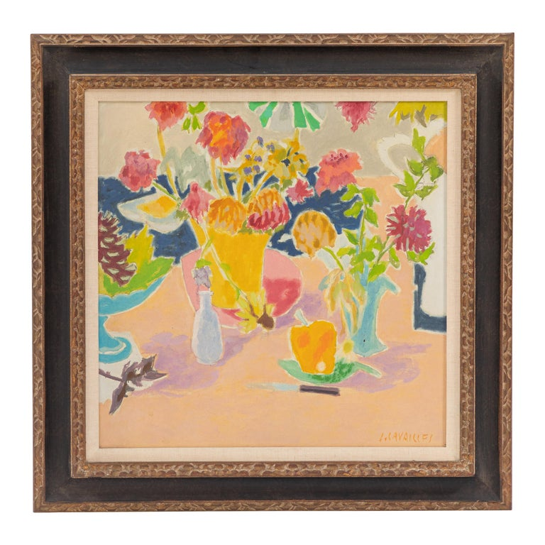 Still Life Oil Painting by French Impressionist Artist Jean Cavailles For Sale