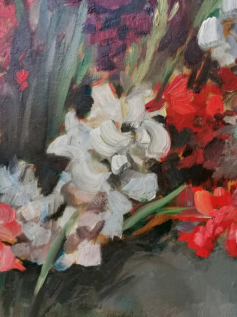 German Still life Oil Painting, Gladiolus by Paul Kusche, 1920 For Sale