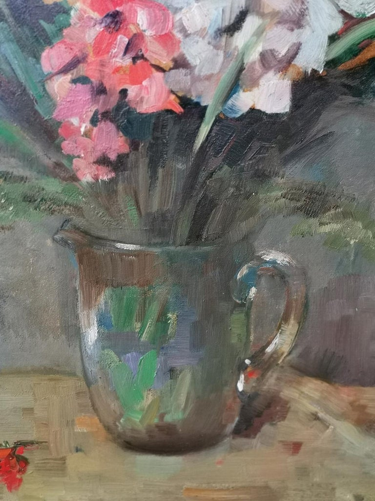 Oiled Still life Oil Painting, Gladiolus by Paul Kusche, 1920 For Sale