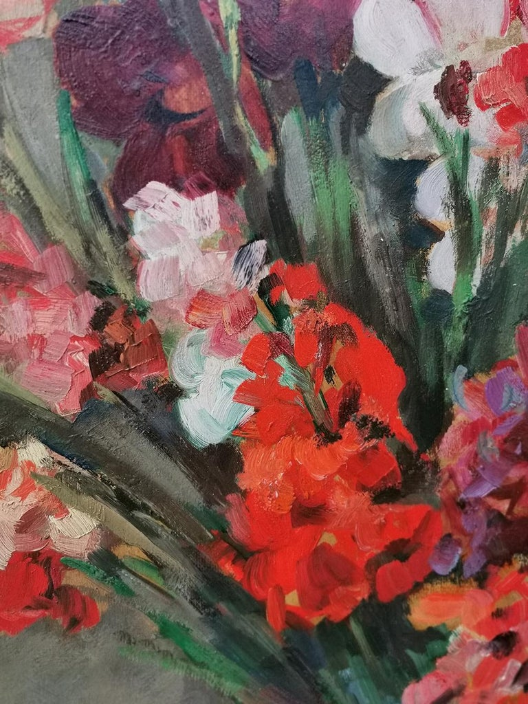 Still life Oil Painting, Gladiolus by Paul Kusche, 1920 In Excellent Condition For Sale In Albignasego, IT