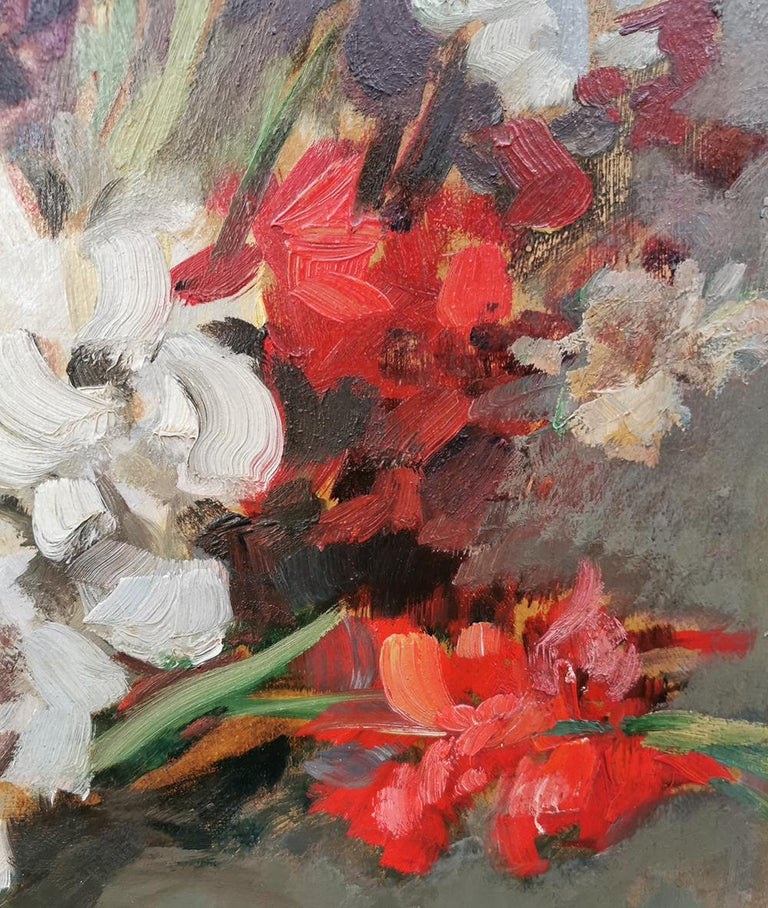 Early 20th Century Still life Oil Painting, Gladiolus by Paul Kusche, 1920 For Sale