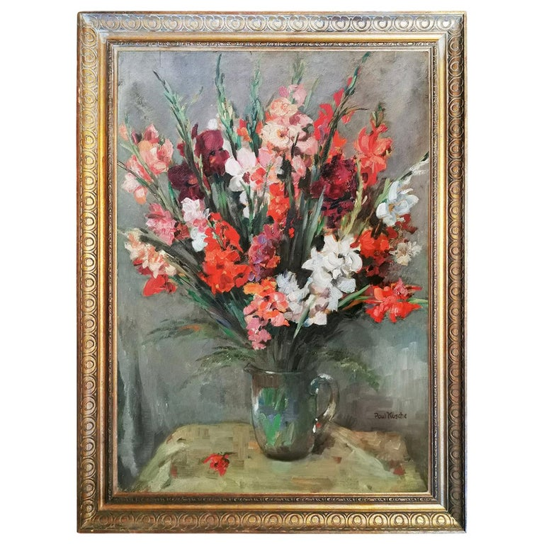 Still life Oil Painting, Gladiolus by Paul Kusche, 1920 For Sale