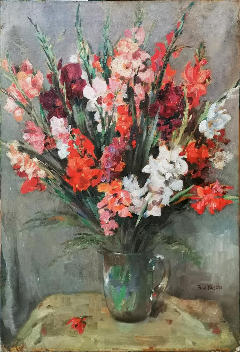 Kusche, Paul (1882-1952), flower vase with gladiolus Measures: 100 cm x 70 cm (frame excluded) 39.4 in x 27.6 in (frame excluded) oil on board, 1920  Ancient painting depicting a floral composition with red, pink and white gladiolus, contained