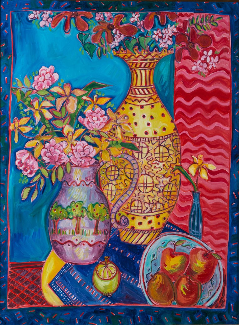 Colorful still life painting by artist Jane Kewin, Ottawa, Canada. Yellow, blue, red, pink. Turquoise colors. Created in 1991. Giltwood frame.
