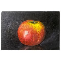 Still Life Painting of a Red Apple