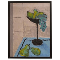 Still Life Painting of Grapes and Pears, American, Mid-20th Century