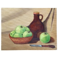 Still Life Painting of Green Apples and Jug