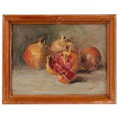 Still Life Painting of Pomegranates Signed by R. Lasserre, Oil on Board