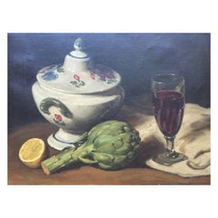 Still Life Painting with Artichoke and Red Wine by Robert Van Cauwenberghe