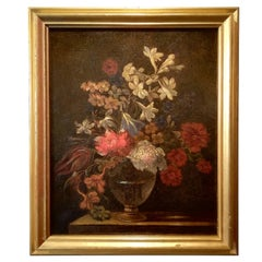 Still Life, Roman Painter Mid-17th Century Oil on Canvans Stanchi Flowers