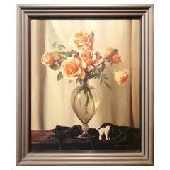 Still Life Vase of Roses and Cat, Bruno Croatto 20th Century Oil Italian Painter