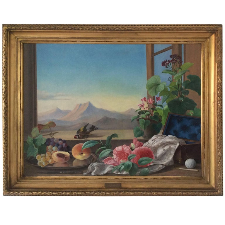 Still-Life with Bird, Flowers and Fruits For Sale