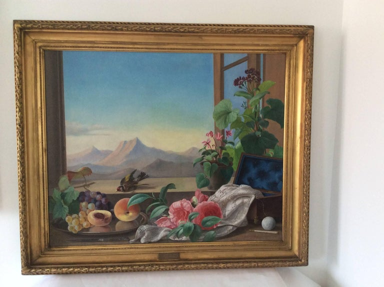 Still-Life with Bird, Flowers and Fruits For Sale 5