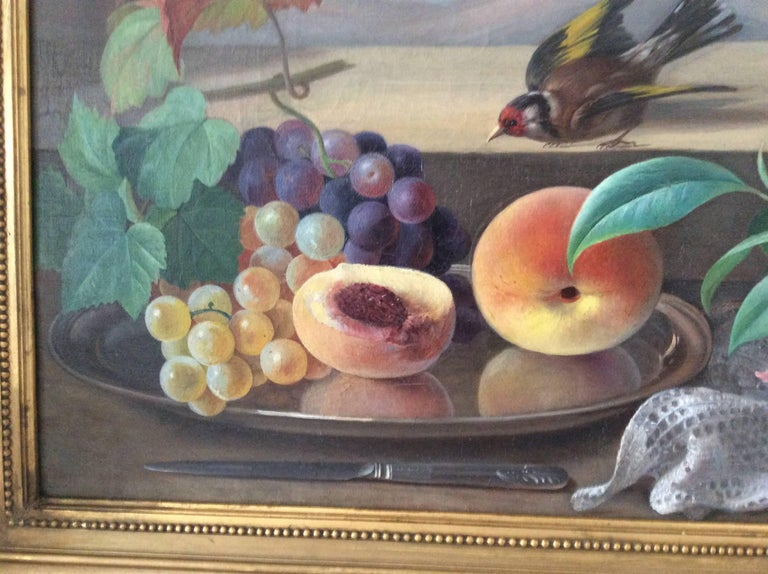 Beaux Arts Still-Life with Bird, Flowers and Fruits For Sale