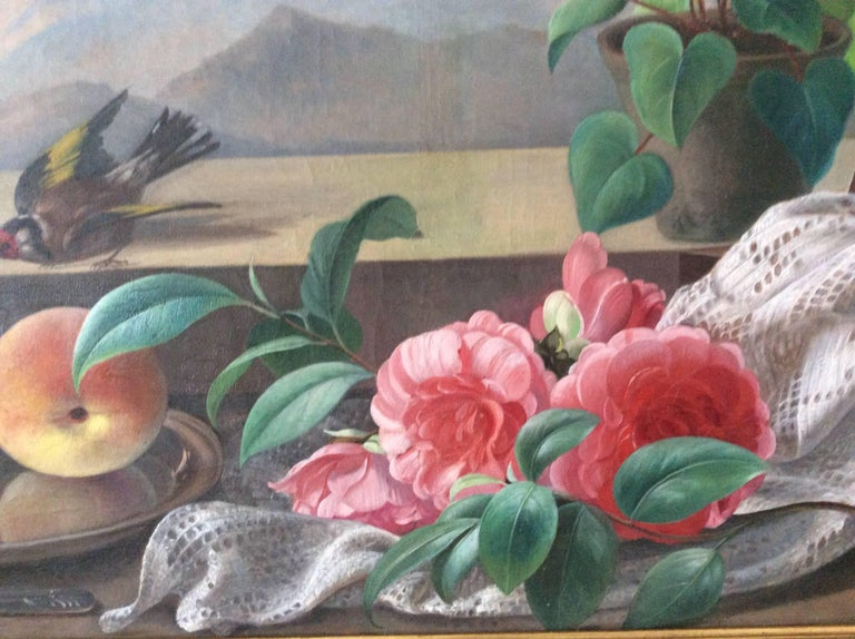 Danish Still-Life with Bird, Flowers and Fruits For Sale
