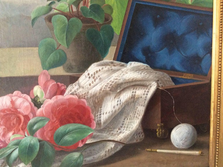 Hand-Painted Still-Life with Bird, Flowers and Fruits For Sale