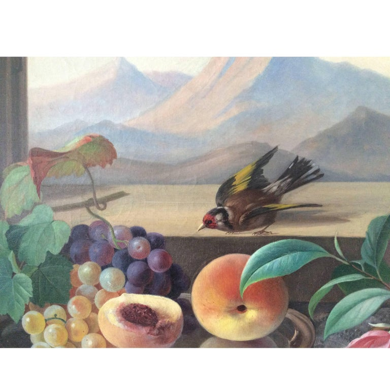 Still-life with bird, flowers and fruits, attributed to Carl Balsgaard 1812-1893. Window with mountain view, professionally restored.
