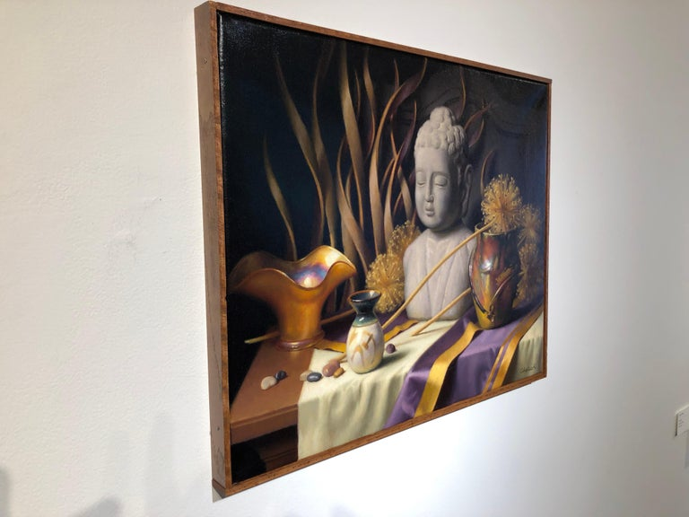 Other Still Life with Buddha, Original Oil Painting on Canvas by Michael Chelich For Sale