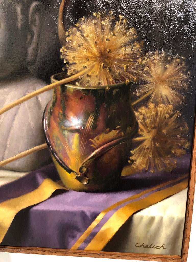 American Still Life with Buddha, Original Oil Painting on Canvas by Michael Chelich For Sale