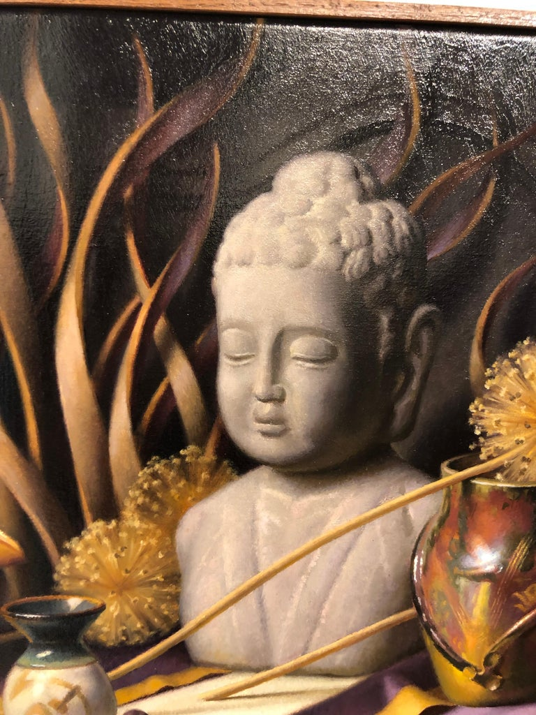Hand-Painted Still Life with Buddha, Original Oil Painting on Canvas by Michael Chelich For Sale