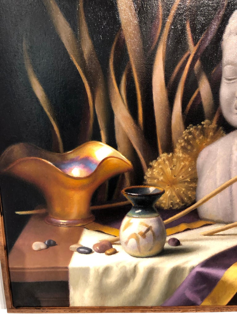 Still Life with Buddha, Original Oil Painting on Canvas by Michael Chelich In New Condition For Sale In Chicago, IL