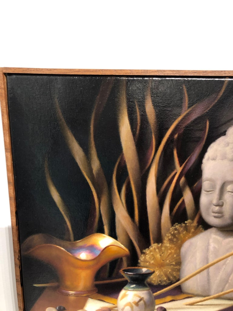 Contemporary Still Life with Buddha, Original Oil Painting on Canvas by Michael Chelich For Sale