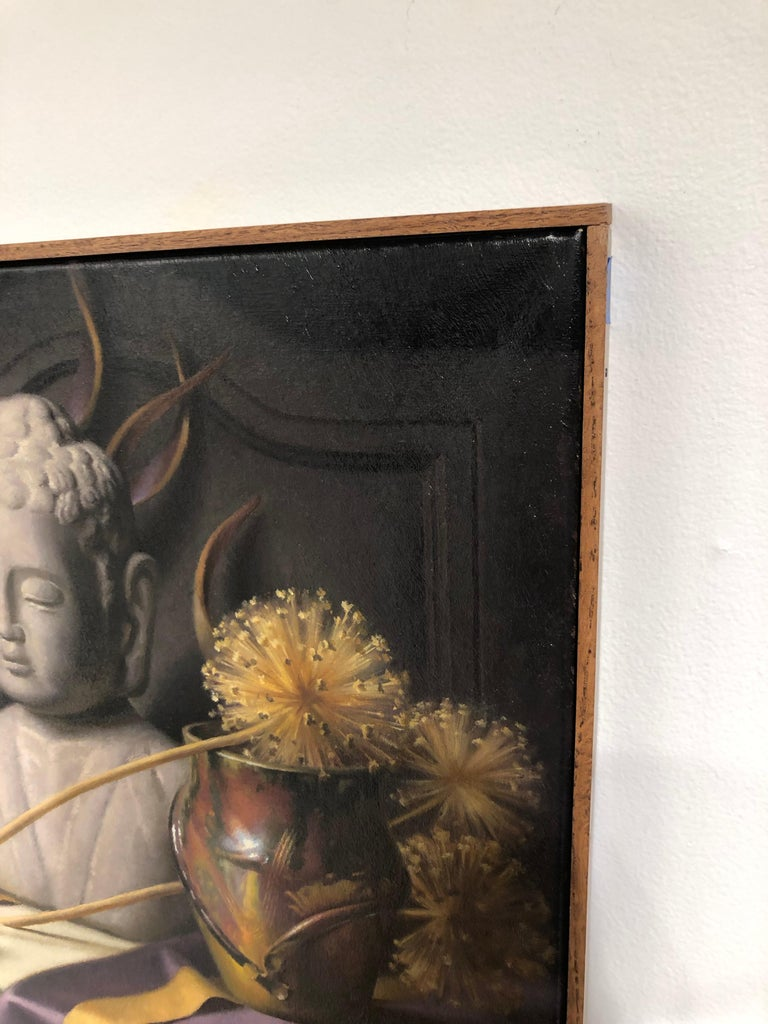 Still Life with Buddha, Original Oil Painting on Canvas by Michael Chelich For Sale 1
