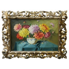 Still Life with Chrysanthemum Flowers in Florentin Frame by Vilmos Murin, 1930's