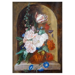 Still Life with Flowers, Dutch School Painting, 18th Century