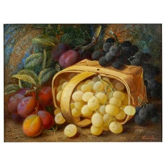 """Still Life with Grapes and Plums"" Antique Oil Painting by Vincent Clare"