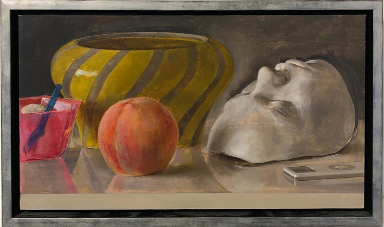 This still life painting on panel captures a variety of objects. Among the objects depicted are a beautiful venetian glass bowl, a cup of Italian gelato, a ripe peach, a white life mask and an obsolete iPod all placed upon a table. These masterfully