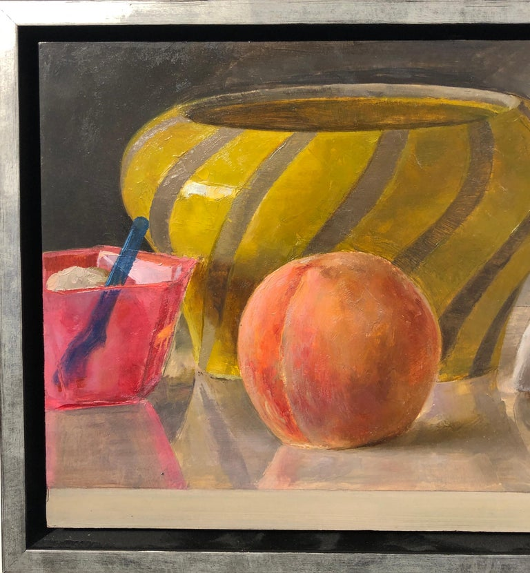 Mid-Century Modern Still Life with Italian Bowl, Life Mask, Peach and iPod, Original Oil Painting For Sale