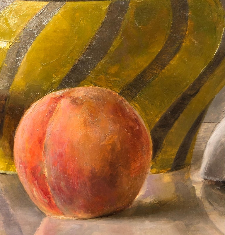 American Still Life with Italian Bowl, Life Mask, Peach and iPod, Original Oil Painting For Sale