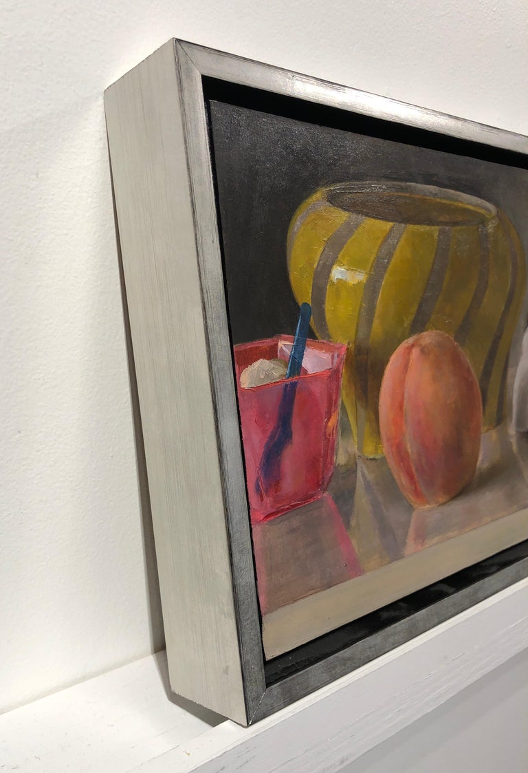 Contemporary Still Life with Italian Bowl, Life Mask, Peach and iPod, Original Oil Painting For Sale