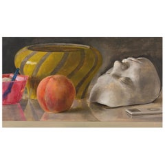 Still Life with Italian Bowl, Life Mask, Peach and iPod, Original Oil Painting