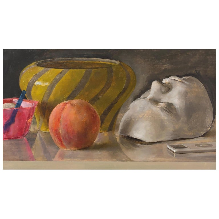 Still Life with Italian Bowl, Life Mask, Peach and iPod, Original Oil Painting For Sale