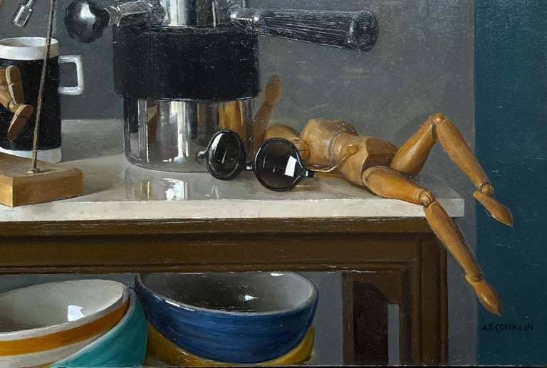 Mid-Century Modern Still Life with Italian Coffee Maker, Lay Figures & Bowls, Original Oil Painting For Sale